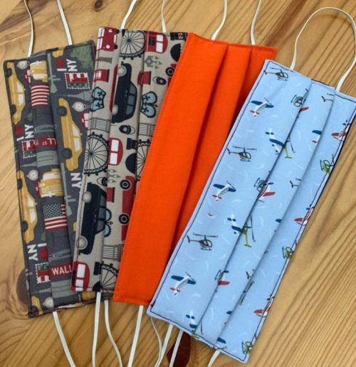 Patterned fabric face masks in a range of patterns