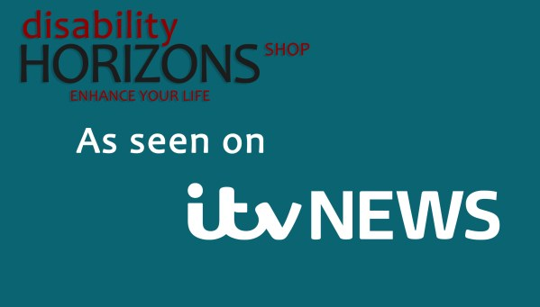 "Image has a blue background with the Disability Horizons logo in the top left corner, with text which reads ""As seen on itv NEWS"""