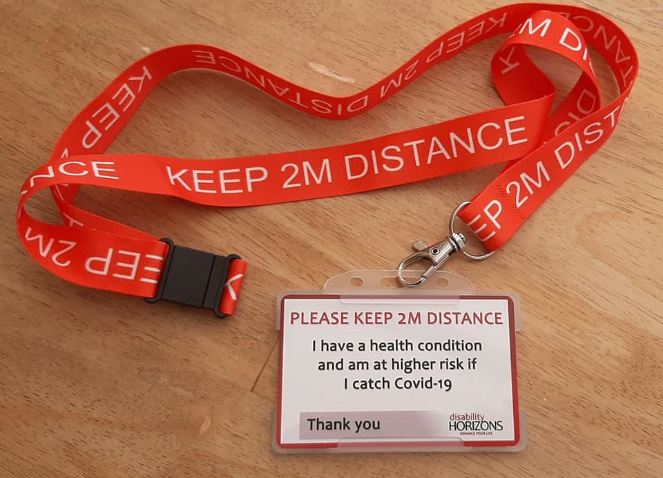 Keep 2m Social Distancing Card Lanyard Or Badge Disability Horizons Shop