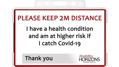 Photo of Keep 2M social distancing card – lanyard or badge