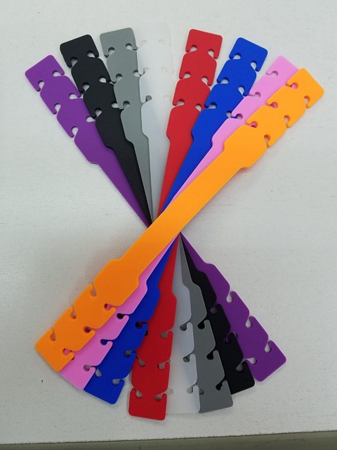 Purple, black, grey, white, red, blue, orange and pink mask extenders.