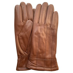 Image is a photograph of a pair tan leather, snug wrist ladies wheelchair gloves by Hands of Warriors