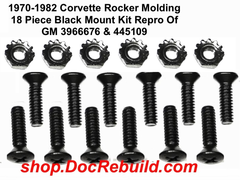 1970-1982 Corvette Rocker Molding 18 Piece Black Mount Kit