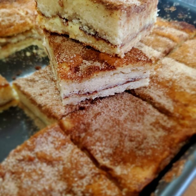 Picture of Churro Cheesecake Squares With Caramel Chocolate Drizzle
