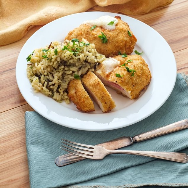 Picture of Breaded Baked Chicken with Buttery Herb Rice Pilaf