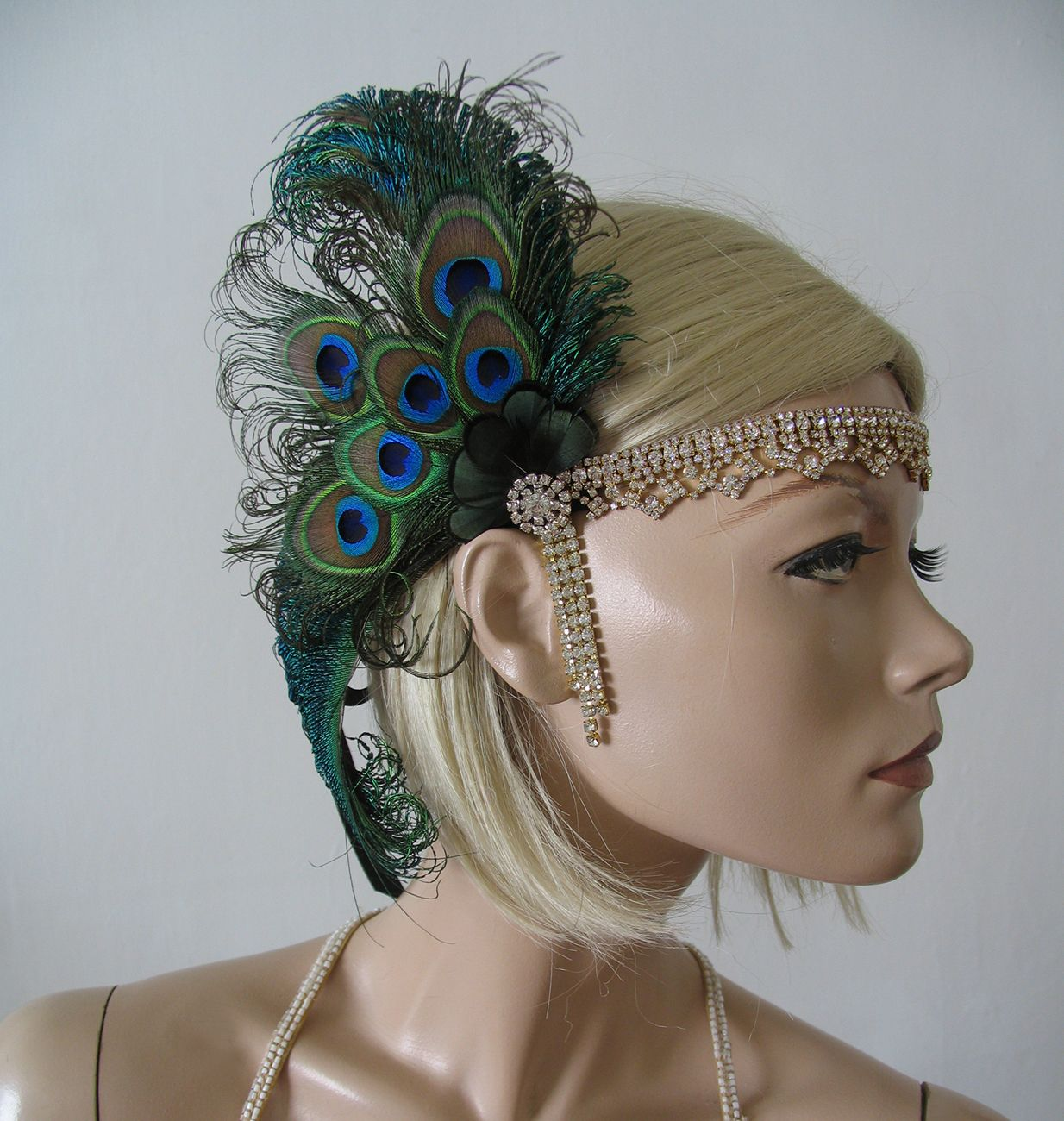 Peacock Feathers Crystal Flapper 1920s Art Deco Headband