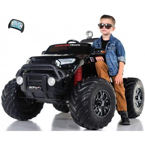 monster truck ford ranger noir electrique 12v avec telecommande parentale voiture electrique pour enfant 2 places