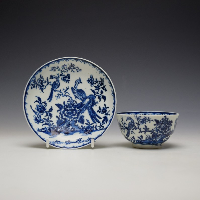 Lowestoft Two Peacock and Peony Pattern Teabowl and Saucer c1775-85 (1)