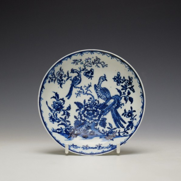 Lowestoft Two Peacock and Peony Pattern Teabowl and Saucer c1775-85 (9)