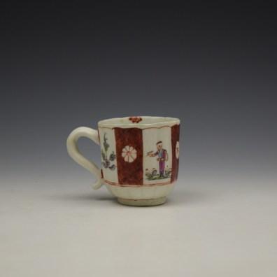 Derby Porcelain Scarlet Japan Mandarin Pattern Coffee Cup and Saucer c1758-80 (5)