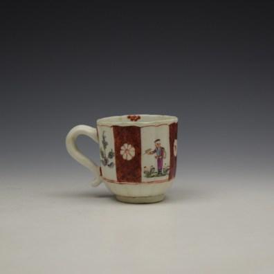 Derby Porcelain Scarlet Japan Mandarin Pattern Coffee Cup and Saucer c1758-80 (6)