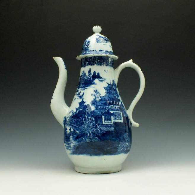 Lowestoft Dark Landscape Pattern Coffee Pot and Cover c1785-95 (1)