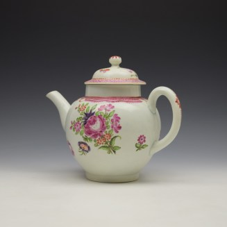Lowestoft Floral Pattern Teapot and Matched Cover c1780 (6)