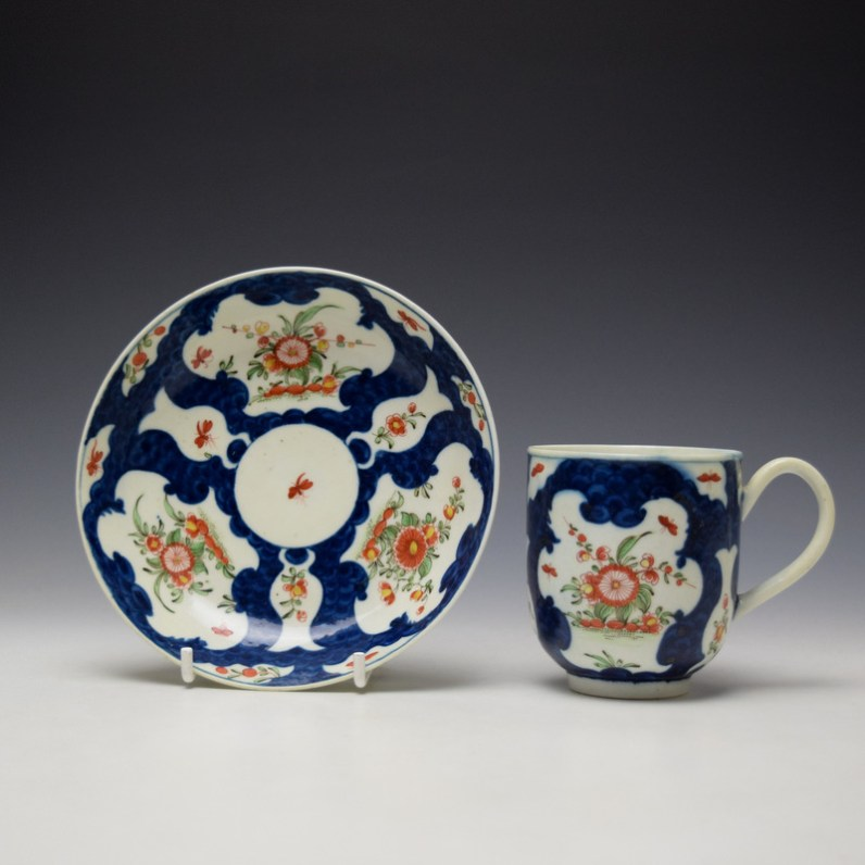Worcester Blue Scale Floral Pattern Chocolate Cup and Saucer c1770 (1)