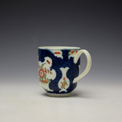 Worcester Blue Scale Floral Pattern Chocolate Cup and Saucer c1770 (6)