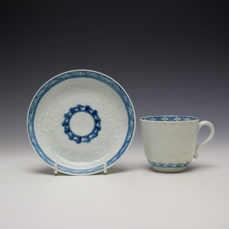 Worcester Chrysanthemum Moulded Coffee Cup and Saucer c1758-60 (1)