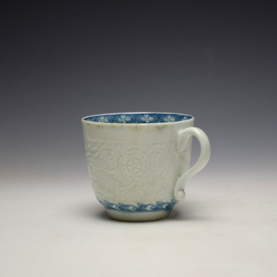 Worcester Chrysanthemum Moulded Coffee Cup and Saucer c1758-60 (5)