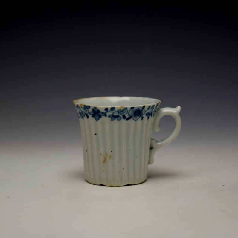 Worcester Early Ribbed Floral Border Pattern Coffee Cup c1754 (1)