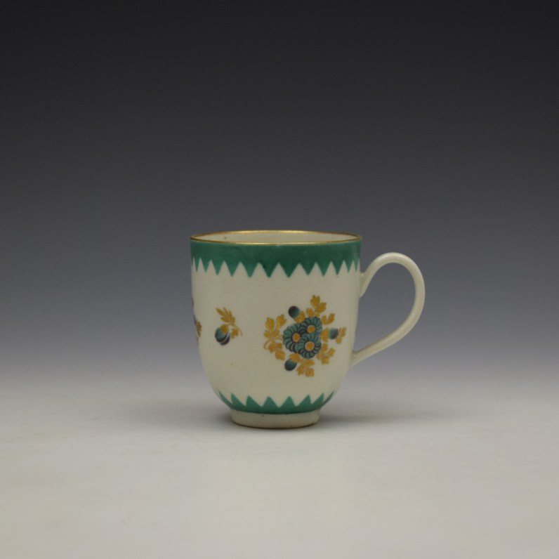 Worcester Green Floral Pattern Coffee Cup c1770 (1)