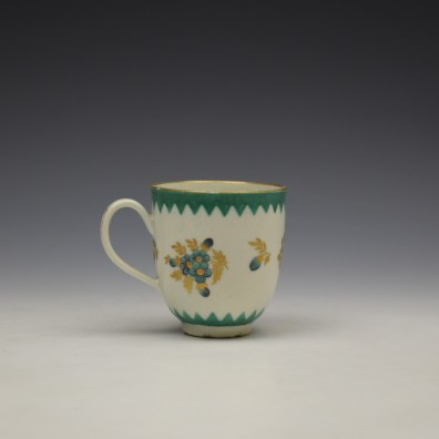 Worcester Green Floral Pattern Coffee Cup c1770 (3)