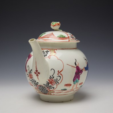 Worcester Mandarin Fish Monger Boy In the Window Pattern Teapot and Cover c1775-80 (2)