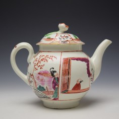 Worcester Mandarin Fish Monger Boy In the Window Pattern Teapot and Cover c1775-80 (5)