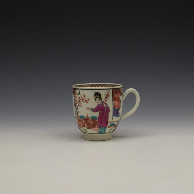 Worcester Mandarin Lady Hugging Tree Pattern Coffee cup c1770-80 (1)