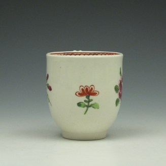 Worcester Porcelain Rose Pattern Coffee Cup c1770-85 (2)
