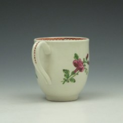 Worcester Porcelain Rose Pattern Coffee Cup c1770-85 (4)