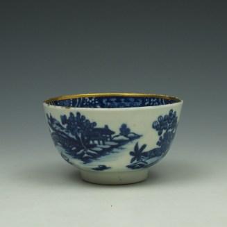 Worcester Bandstand Pattern Teabowl and Saucer c1780-90 (3)