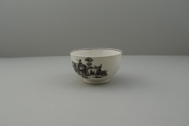 Worcester Porcelain Black Printed Milkmaids Pattern Trio With Uncommon Twist Handle. 12