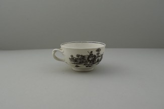 Worcester Porcelain Black Printed Milkmaids Pattern Trio With Uncommon Twist Handle. 13