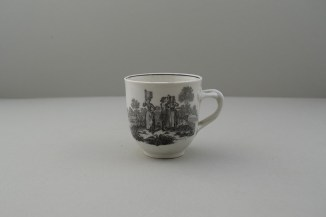 Worcester Porcelain Black Printed Milkmaids Pattern Trio With Uncommon Twist Handle. 2
