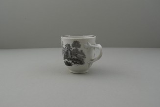 Worcester Porcelain Black Printed Milkmaids Pattern Trio With Uncommon Twist Handle. 7