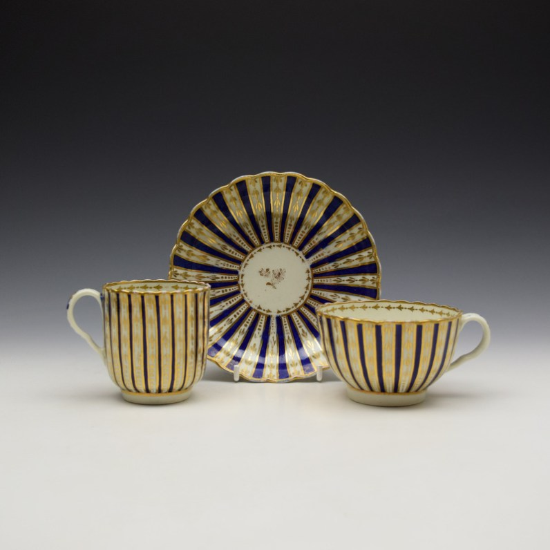 Blue and Gold Arrow and Dot Pattern Trio c1775-85 (0)