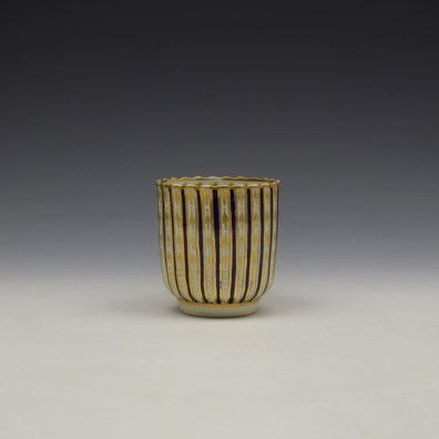 Blue and Gold Arrow and Dot Pattern Trio c1775-85 (2)