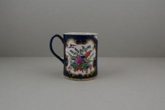 Worcester Porcelain Blue Ground Fancy Bird Pattern Mug, C1775-90 (4)