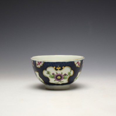 Worcester Blue Scale Panelled Floral Pattern Teabowl and Saucer c1770-75 (7)