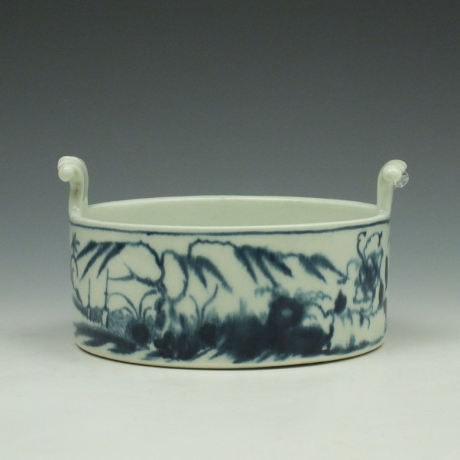 Worcester Candle Fence Pattern Butter Tub c1765 (1)