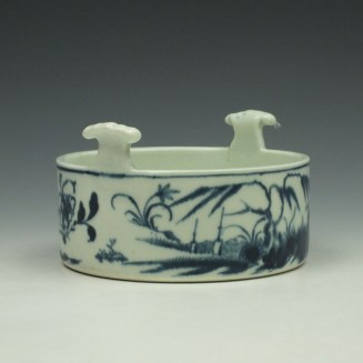 Worcester Candle Fence Pattern Butter Tub c1765 (2)