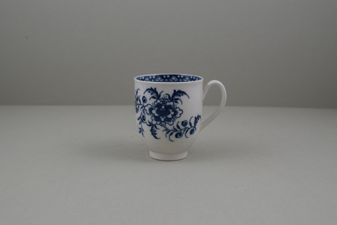 Caughley Porcelain Printed Peony Pattern Coffee Cup, C1778-85. 1