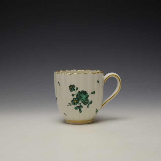 Chelsea Derby Giles Decorated Green Floral Pattern Fluted Coffee Cup c1769-75 (1)