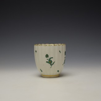Chelsea Derby Giles Decorated Green Floral Pattern Fluted Coffee Cup c1769-75 (2)