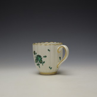 Chelsea Derby Giles Decorated Green Floral Pattern Fluted Coffee Cup c1769-75 (5)