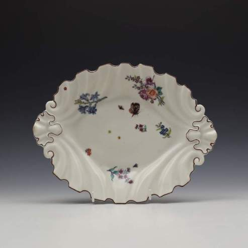 Chelsea Floral and Moth Pattern Silver Shape Dish c1755 (1)