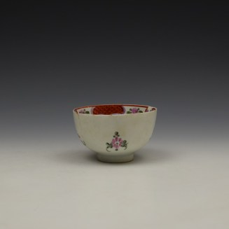 Lowestoft Curtis Floral and Red Border Pattern Teabowl c1780-90 (3)