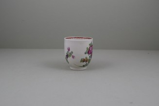 Lowestoft Porcelain Curtis Flower Pattern Coffee Cup and Saucer, C1785-95 (4)