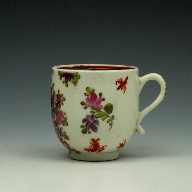Lowestoft Curtis Pink and Purple Rose Pattern Coffee Cup c1785-95 (1)