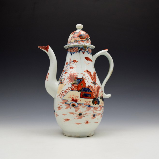 Lowestoft Dolls House Fern Pattern Coffee Pot and Cover c1775-85 (1)