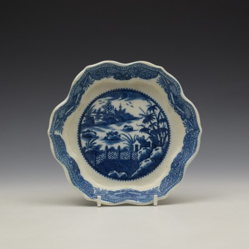 Caughley Fence and House Pattern Teapot Stand c1780-90 (1)